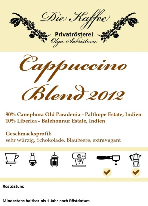 Cappuccino Blend 2012 ganze Bohne / 500g