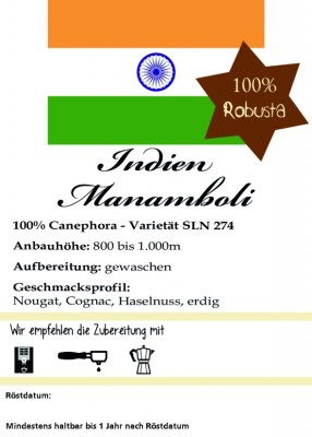 Indien Manamboli Estate - 100% Robusta 1000g / ganze Bohne