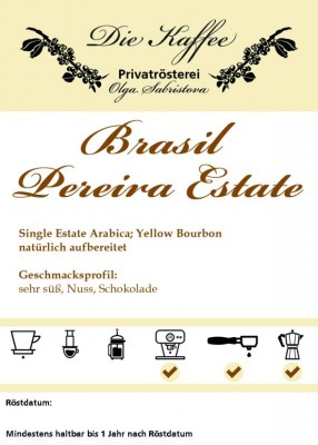 Brasil Yellow Bourbon - Pereira Estate 250g / ganze Bohne