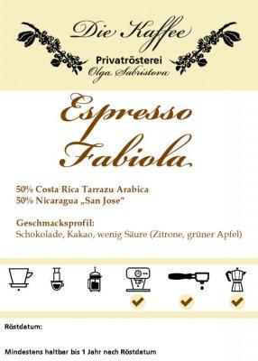 """Espressomischung """"Fabiola"""" ganze Bohne / 250g"""